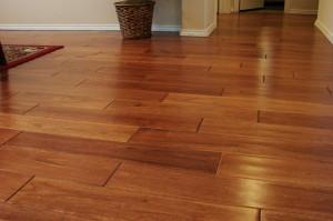 Polished wood flooring